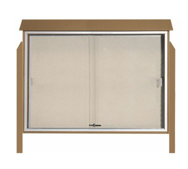 "Aarco Products PLDS4052DPP-8 Weathered Wood Sliding Door Plastic Lumber Message Center - Posts Included, 40"" x 52"""