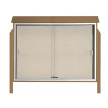 """Aarco Products PLDS4052DPP-8 Weathered Wood Sliding Door Plastic Lumber Message Center - Posts Included, 40"""" x 52"""""""