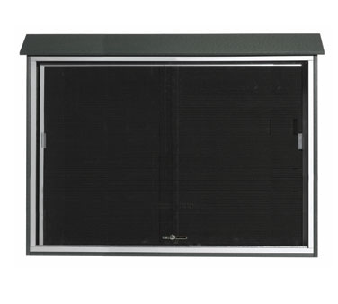 """Aarco Products PLDS4052L-4 Green Sliding Door Plastic Lumber Message Center with Letter Board 40"""" x 52"""""""