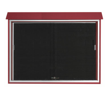 "Aarco Products PLDS4052L-7 Rosewood Sliding Door Plastic Lumber Message Center with Letter Board 40"" x 52"""
