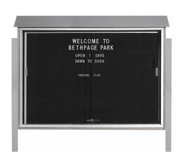 """Aarco Products PLDS4052LDPP-2 Light Grey Sliding Door Plastic Lumber Message Center with Letter Board - Posts Included, 40"""" x 52"""""""