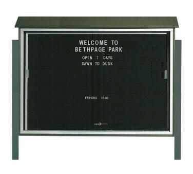 "Aarco Products PLDS4052LDPP-4 Green Sliding Door Plastic Lumber Message Center with Letter Board - Posts Included, 40"" x 52"""