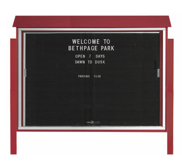 "Aarco Products PLDS4052LDPP-7 Rosewood Sliding Door Plastic Lumber Message Center with Letter Board - Posts Included, 40"" x 52"""