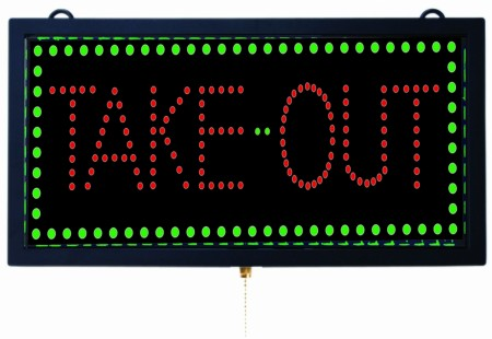 """Aarco Products TAK12M High Visibility LED TAKE-OUT Sign, 9 3/4""""H x 18 3/4""""W"""