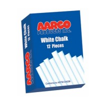 Aarco Products WCS-12 White Chalk - 12 Boxes of 12 Pieces