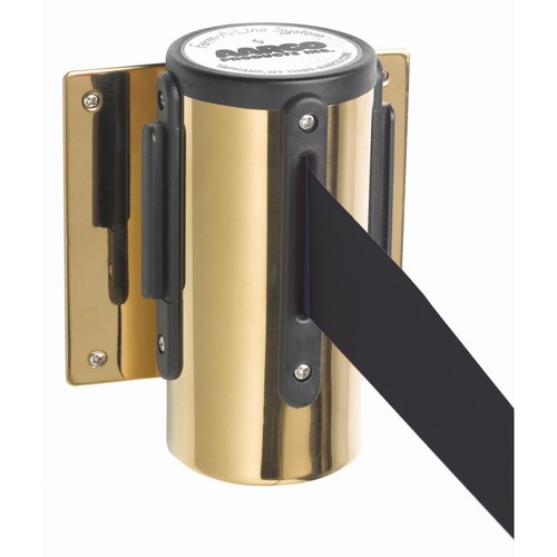 Aarco Products WM-7B Form-A-Line System Wall Mounted Retractable Belt - Brass Finish Casing