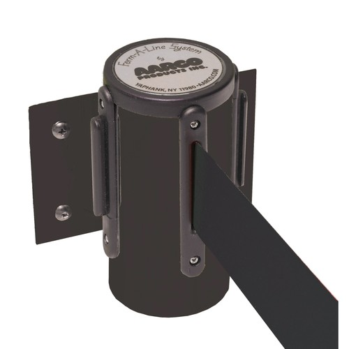 Aarco Products WM-7BK Form-A-Line System Wall Mounted Retractable Belt - Black Finish Casing