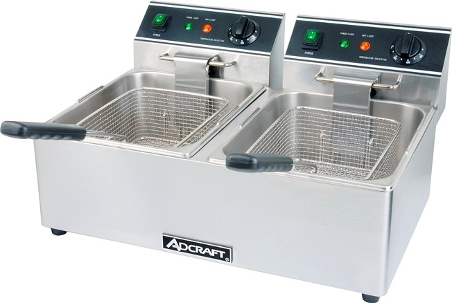 Adcraft DF-6L/2 Commercial Countertop Double Tank Deep Fryer, 120V