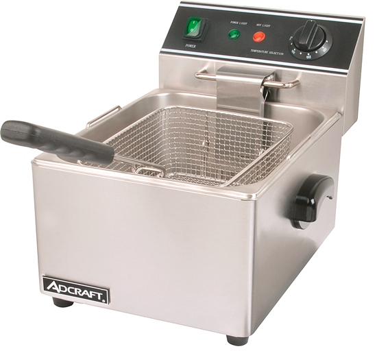 Adcraft DF-6L Commercial Countertop Single Tank Deep Fryer, 120V, 6L
