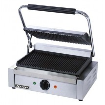 Adcraft SG-811E Commercial Panini Press Sandwich Grill with Grooved Plates