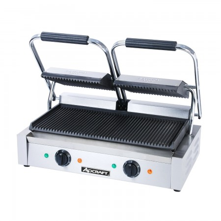 Adcraft SG-813 Double Countertop Sandwich Grill with Grooved Plates