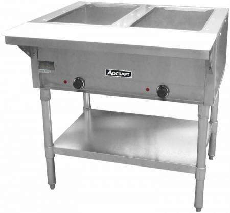 Adcraft ST-120/2 Commercial 2 Bay Open Well Steam Table