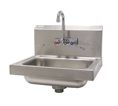 Advance Tabco 7-PS-68 Wall Mounted Hand Sink with Splash Mount Faucet and Wrist Handles