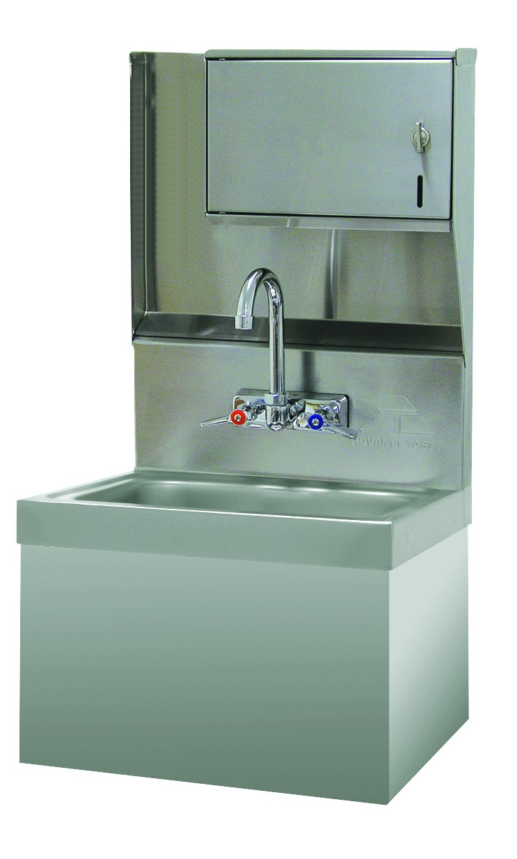 Advance Tabco 7-PS-727 Wall Mounted Hand Sink with Security Installation and Paper Towel Dispenser