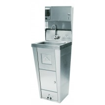 Advance-Tabco-7-PS-99-Hands-Free-Hand-Sink-with-Pedestal-Base--Soap-and-Paper-Towel-Dispenser--Trash-Bin