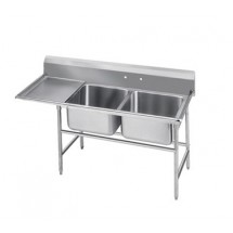 Advance Tabco 9-2-36-18L Two Compartment Sink with Left Drainboard, 58""