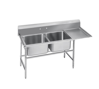 Advance Tabco 9-2-36-36R Two Compartment Sink with Right Drainboard, 76""
