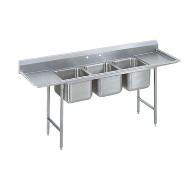 Advance Tabco 9-3-54-18RL Three Compartment Sink with Two Drainboards, 91""