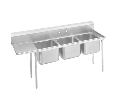 Advance Tabco 9-3-54-36L Three Compartment Sink with Left Drainboard, 95""