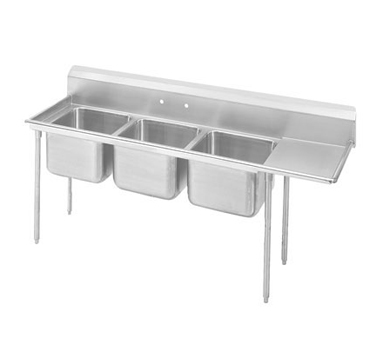 Advance Tabco 9-3-54-36R Three Compartment Sink with Right Drainboard, 95""