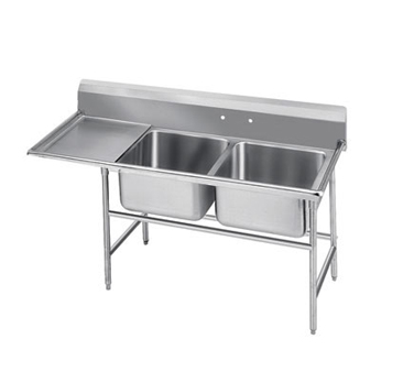 Advance Tabco 9-42-48-24L Two Compartment Sink with Left Drainboard, 80""