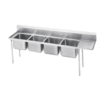Advance Tabco 9-64-72-24R Four Compartment Sink with Right Drainboard, 109""