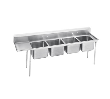 Advance Tabco 9-84-80-36L Four Compartment Sink with Left Drainboard, 129""