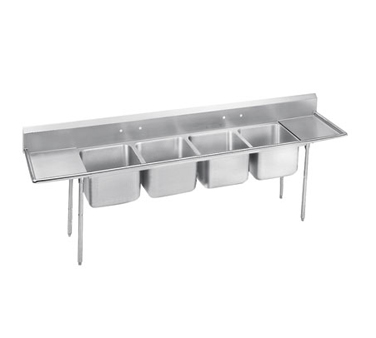Advance Tabco 9-84-80-36RL Four Compartment Sink with Two Drainboards, 162""