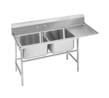 Advance Tabco 94-2-36-24R Two Compartment Sink with Right Drainboard, 64""