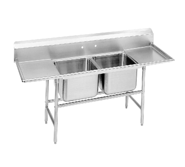 """Advance Tabco 94-22-40-24RL Two Compartment Sink with Two Drainboards, 93"""""""