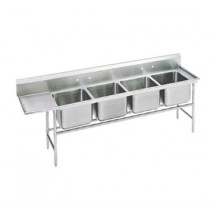 Advance Tabco 94-24-80-24L Four Compartment Sink with Left Drainboard, 117""