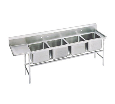 Advance Tabco 94-24-80-36L Four Compartment Sink with Left Drainboard, 129""