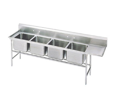 Advance Tabco 94-24-80-36R Four Compartment Sink with Right Drainboard, 129""