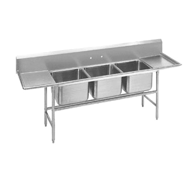 Advance Tabco 94-3-54-18RL Three Compartment Sink with Two Drainboards, 91""