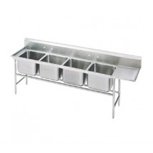 Advance Tabco 94-4-72-18R Four Compartment Sink with Right Drainboard, 95""