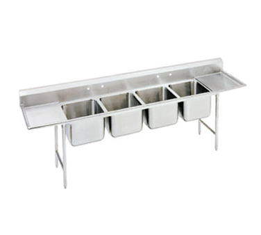 Advance Tabco 94-44-96-24RL Four Compartment Sink with Two Drainboards, 154""
