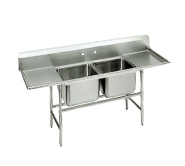 Advance Tabco 94-62-36-18RL Two Compartment Sink with Two Drainboards, 77""
