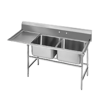Advance Tabco 94-62-36-36L Two Compartment Sink with Left Drainboard, 80""