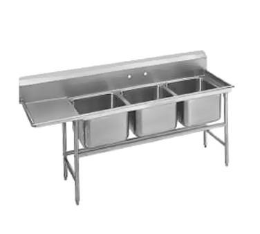 Advance Tabco 94-63-54-24L Three Compartment Sink with Left Drainboard, 89""