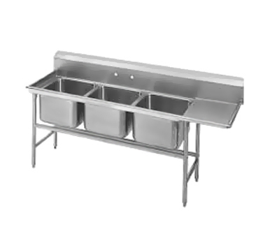Advance Tabco 94-63-54-24R Three Compartment Sink with Right Drainboard, 89""