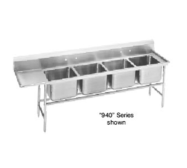 Advance Tabco 94-64-72-36L Four Compartment Sink with Left Drainboard, 121""