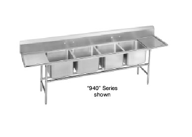 Advance Tabco 94-64-72-36RL Four Compartment Sink with Two Drainboards, 154""