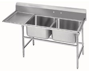Advance Tabco 94-82-40-36L Two Compartment Sink with Left Drainboard, 84""