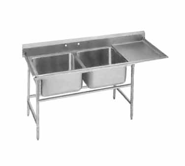 Advance Tabco 94-82-40-36R Two Compartment Sink with Right Drainboard, 84""