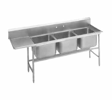 Advance Tabco 94-83-60-24L Three Compartment Sink with Left Drainboard, 95""