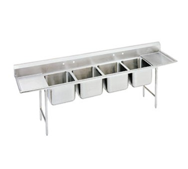 """Advance Tabco 94-84-80-36RL Four Compartment Sink with Two Drainboards, 162"""""""