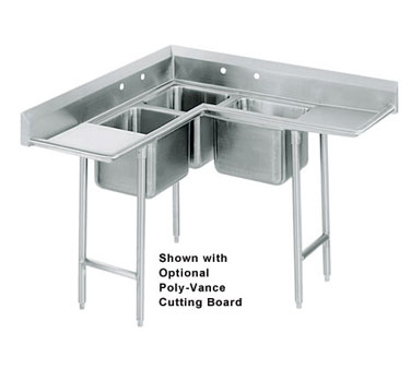 Advance Tabco 94-K2-24D Three Compartment Corner Sink with Two Drainboards, 142""
