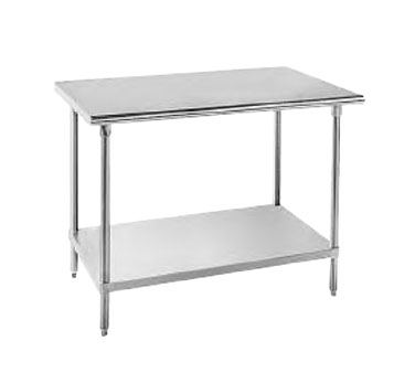 "Advance Tabco AG-304 Stainless Steel Work Table With Backsplash and Galvanized Undershelf - 30"" x 48"""