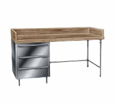"Advance Tabco BST-308 Wood Top Baker's Table with Stainless Steel Base and Drawers - 30"" x 96"""