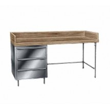 "Advance Tabco BST-368 Wood Top Baker's Table with Stainless Steel Base and Drawers - 36"" x 96"""